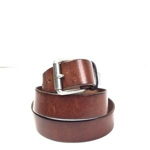 J. Crew Rich Brown Distressed Genuine Leather Belt